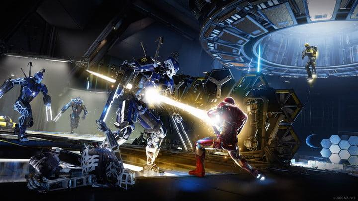 Iron Man fights robots in Marvel's Avengers