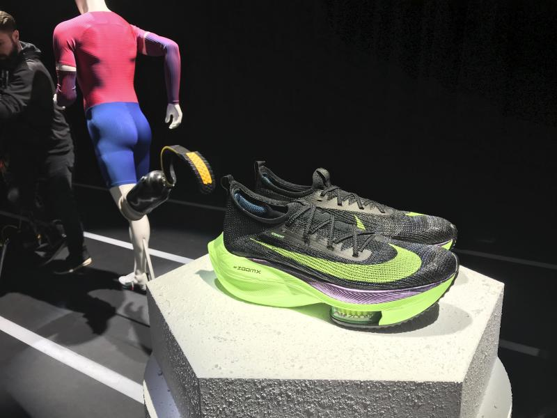 In this Wednesday, Feb. 5, 2020 photo, Nike's Air Zoom Alphafly Next% running shoe is displayed at the Nike 2020 Forum in New York. Eliud Kipchoge, of Kenya, wore a prototype of the shoe when he ran the world's first sub-2-hour marathon in an unofficial race in October.  (AP Photo/Alexandra Olson)