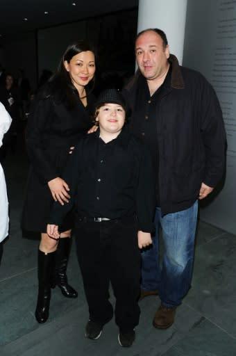 "Actor James Gandolfini (R), wife Deborah Lin (L) and son Michael Gandolfini attend the 2010 Tribeca Film Festival opening night premiere after party for ""Shrek Forever After"""