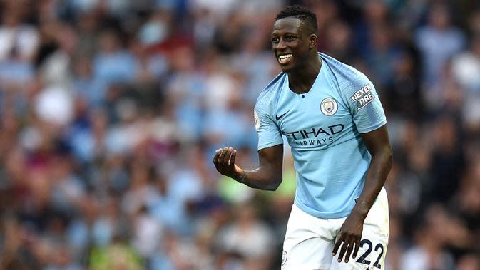 1. Benjamin Mendy (57,5 juta euro) - Bek kiri berusia 26 tahun ini bergabung dengan Manchester city pada 2017. Mendy didatangkan Manchester City dari AS Monaco dengan transfer mencapai 57,5 juta euro. (AFP/Oli Scarff)