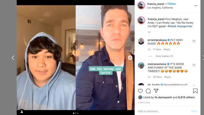 Francis Karel saat berkolaborasi dengan Andy Grammer (Instagram)