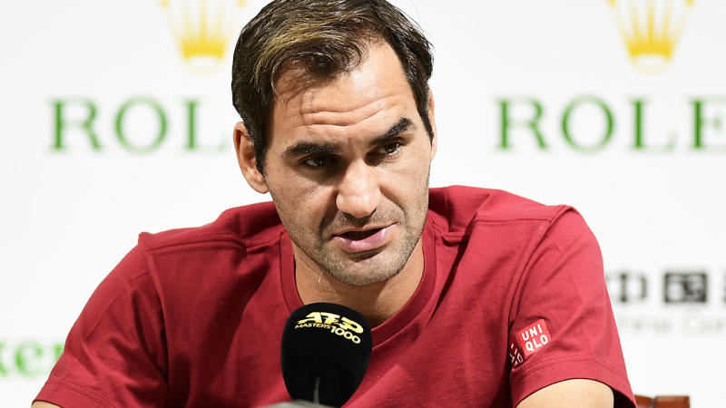 Roger Federer, pictured here talking to the media at the Shanghai Masters.