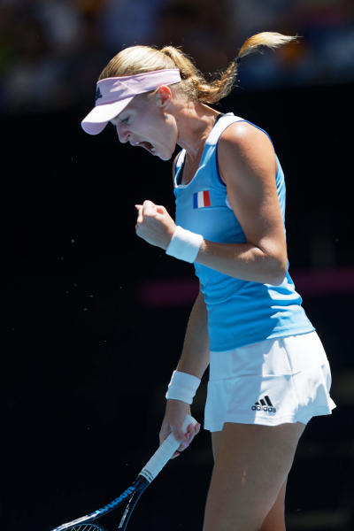 France's Kristina Mladenovic reacts after winning a point against Australia's Ajla Tomljanovic during their Fed Cup tennis final in Perth, Australia, Saturday, Nov. 9, 2019. (AP Photo/Trevor Collens)