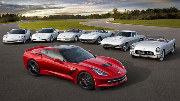 7 generations of Corvettes