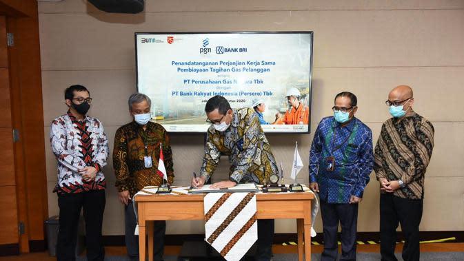 PT Perusahaan Gas Negara Tbk (PGN) bekerja sama dengan PT Bank Rakyat Indonesia (BRI) dalam Pembiayaan Tagihan Pemakaian Gas Pelanggan PGN.