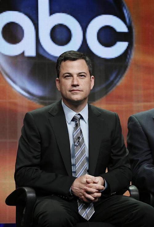 "Jimmy Kimmel attends the ""64th Primetime Emmy Awards"" panel at the Disney ABC TCA Day 2 at the Beverly Hilton Hotel on Friday, July 27, 2012, in Beverly Hills, Calif. Kimmel, host of the Emmy Awards in September, and executive producer Don Mischer discussed the ceremony at the Television Critics Association meeting. (Photo by Todd Williamson/Invision/AP)"