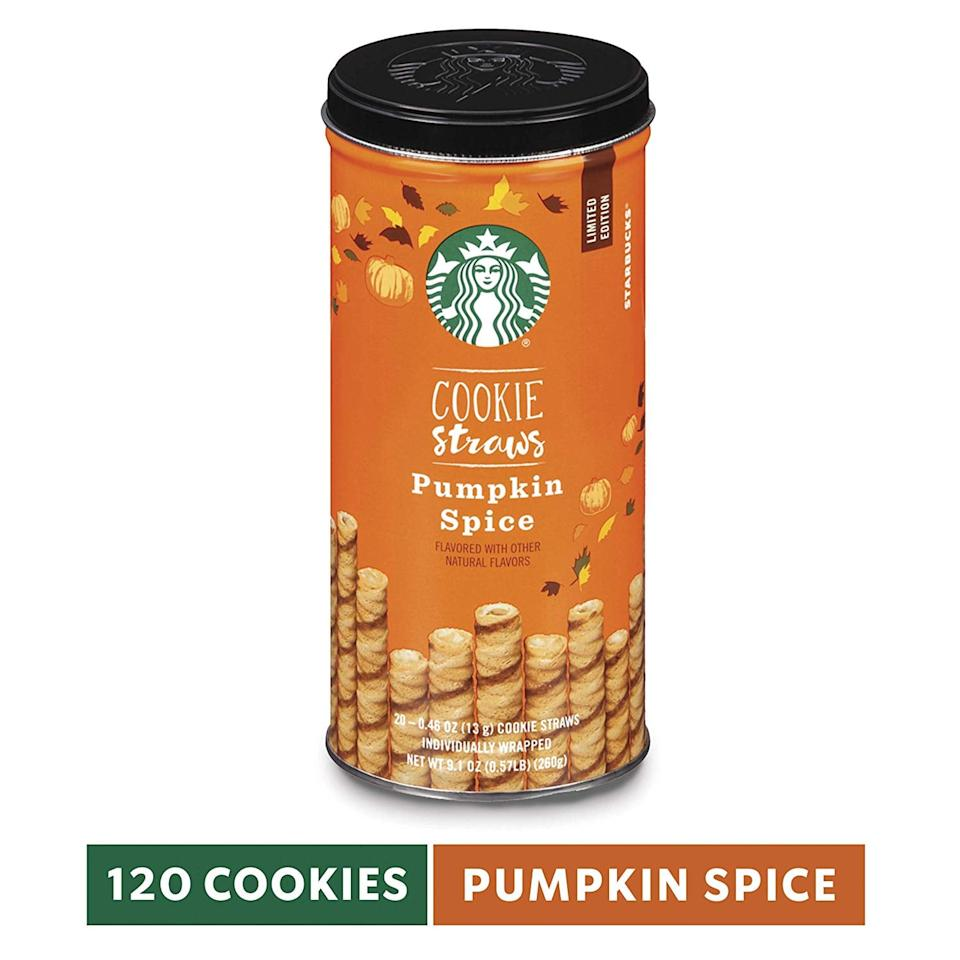 "<p>Drink your pumpkin spice latte out of these <a href=""https://www.popsugar.com/buy/Starbucks-Cookie-Straws-Pumpkin-Spice-485191?p_name=Starbucks%20Cookie%20Straws%2C%20Pumpkin%20Spice&retailer=amazon.com&pid=485191&price=32&evar1=yum%3Aus&evar9=46556985&evar98=https%3A%2F%2Fwww.popsugar.com%2Fphoto-gallery%2F46556985%2Fimage%2F46556991%2FStarbucks-Cookie-Straws-Pumpkin-Spice&list1=shopping%2Camazon%2Cfall%2Cdessert%2Cpumpkin%20spice%2Cfall%20food&prop13=api&pdata=1"" rel=""nofollow"" data-shoppable-link=""1"" target=""_blank"" class=""ga-track"" data-ga-category=""Related"" data-ga-label=""https://www.amazon.com/Starbucks-Cookie-Straws-Pumpkin-6-inch/dp/B07DSQYJ8F/ref=sr_1_79?keywords=pumpkin%2Bspice&amp;qid=1567010995&amp;s=gateway&amp;sr=8-79&amp;th=1"" data-ga-action=""In-Line Links"">Starbucks Cookie Straws, Pumpkin Spice</a> ($32 for six).</p>"