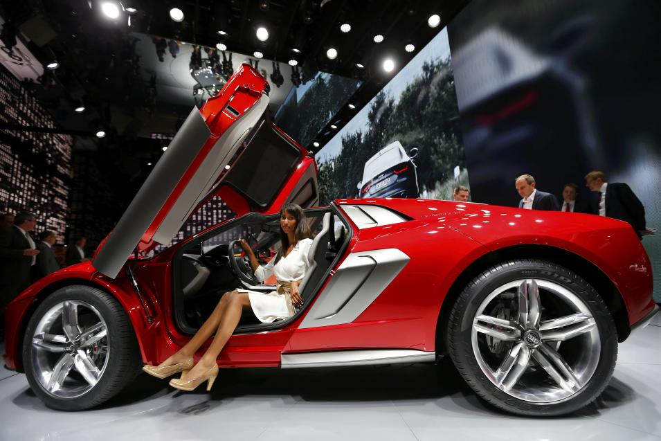 A model poses in an Audi Nanuk Quattro concept car at Frankfurt Motor Show