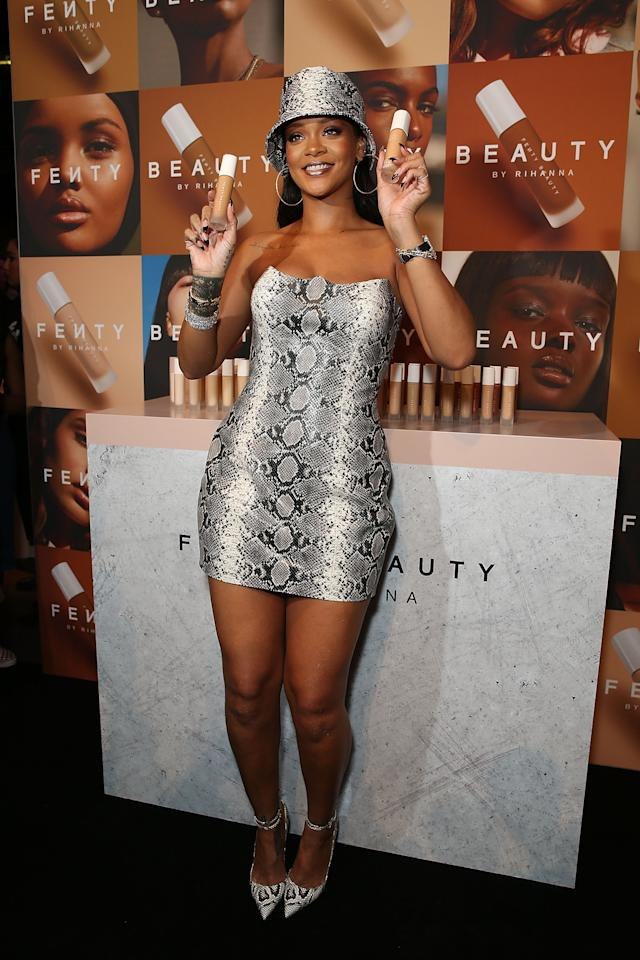 <p>Popstar Rihanna posed at the Cargo Hall, Overseas Passenger Terminal in Sydney for the Fenty Beauty one year anniversary party. Photo: Getty Images </p>