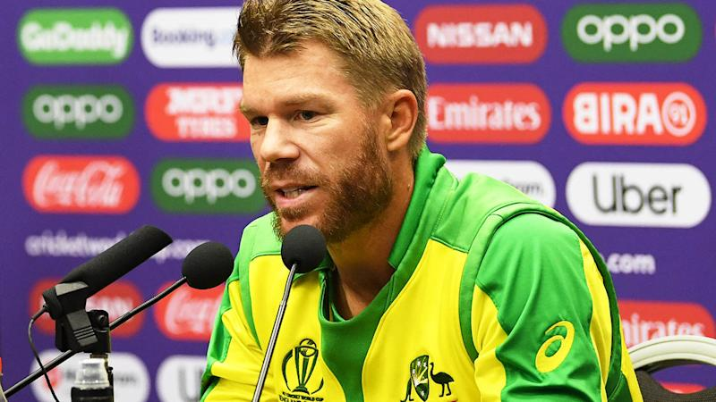 David Warner speaks to the media. (Photo by Stu Forster-IDI/IDI via Getty Images)