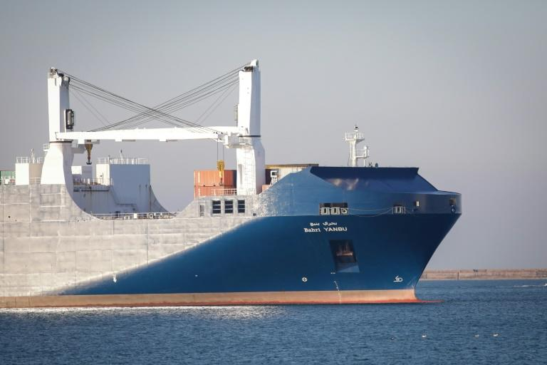 The Bahri Yanbu cargo ship arriving in the French port of Cherbourg, where dozens of activists held a protest over the sale of arms to Riyadh