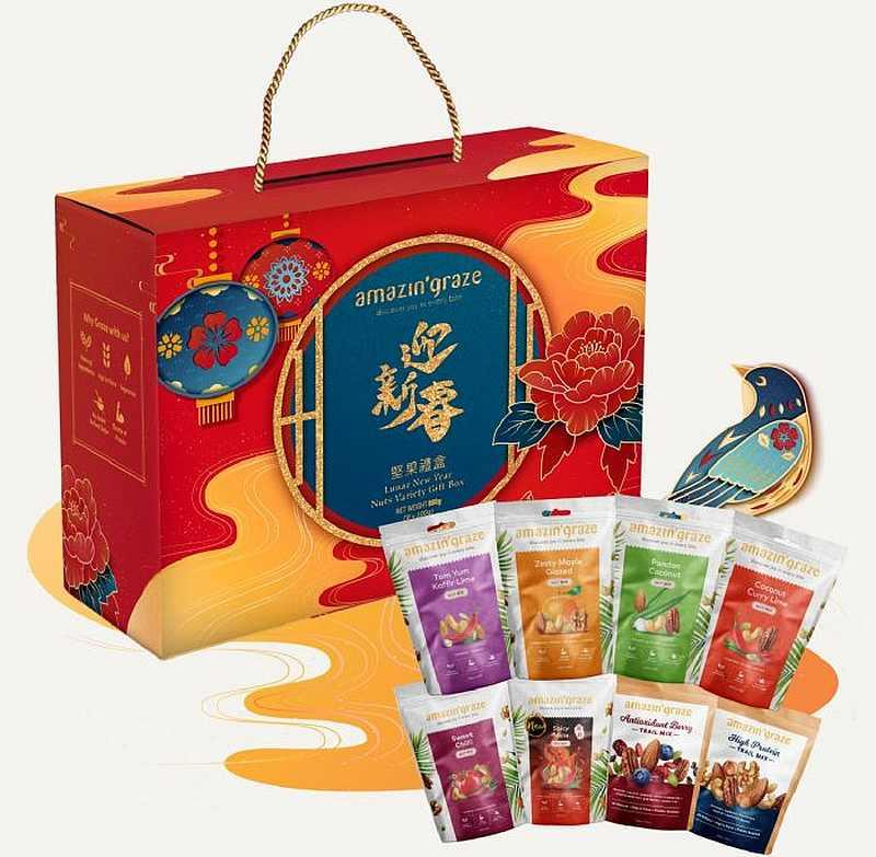 Amazin' Graze Lunar New Year Variety Nuts Box, RM80. — Picture from Amazin' Graze
