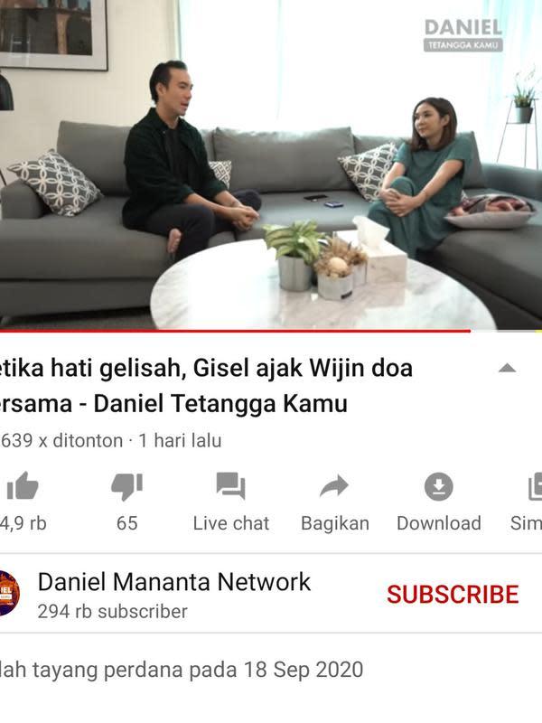 Unggahan Daniel Mananta. (Foto: YouTube Daniel Mananta Network)