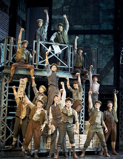 """In this theater image released by Disney Theatrical Productions, the cast is shown from the musical """"Newsies."""" The production was nominated for a Tony Award for best musical, Tuesday, May 1, 2012. (AP Photo/Disney Theatrical Productions, T Charles Erickson)"""