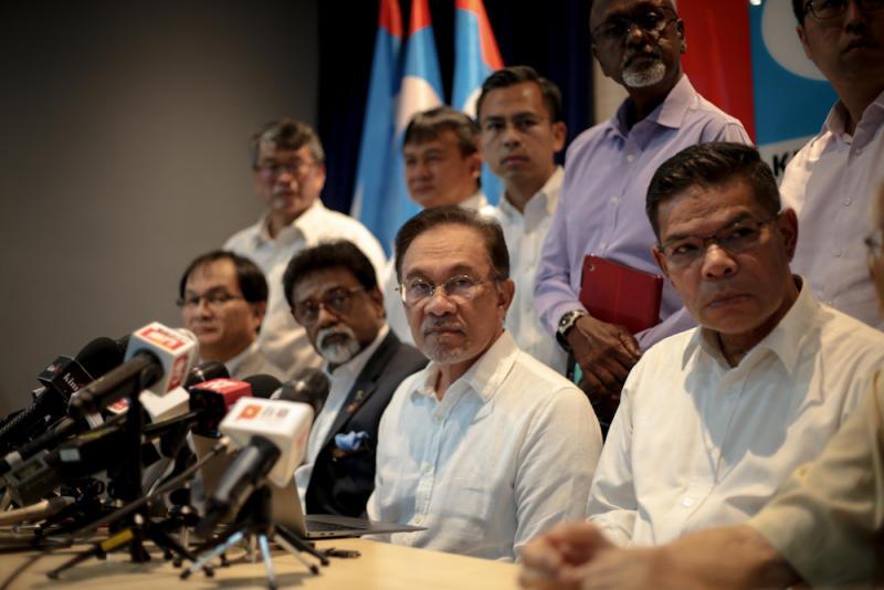 PKR president Datuk Seri Anwar Ibrahim speaks to reporters at PKR headquarters in Petaling Jaya June 12, 2019. — Picture by Ahmad Zamzahuri