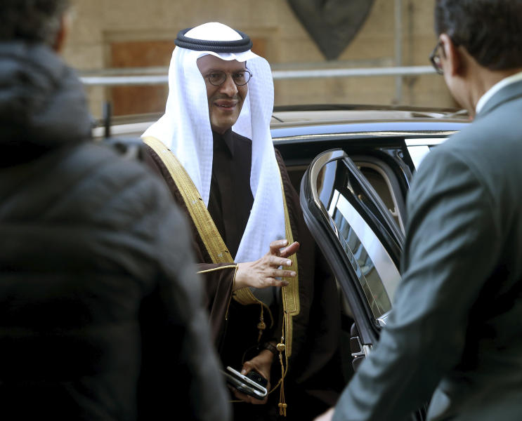 Prince Abdulaziz bin Salman Al-Saud, Minister of Energy of Saudi Arabia, arrives for a meeting of the Organization of the Petroleum Exporting Countries, OPEC, at their headquarters in Vienna, Austria, Thursday, March 5, 2020. (AP Photo/Ronald Zak)