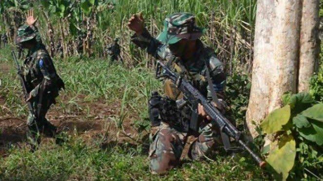 VIVA Militer : Pasukan Yonif 5 Marinir TNI AL latihan penguasaan wilayah daratan