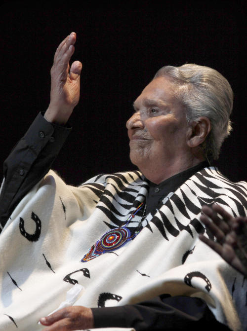 FILE - In this April 15, 2012 file photo, Mexican singer Chavela Vargas, born in Costa Rica, performs during a concert at the Fine Arts Palace in Mexico City. Vargas, 93, died on Sunday, Aug. 5, 2012, after being hospitalized recently due to cardiac and renal problems. (AP Photo/Marco Ugarte, File)