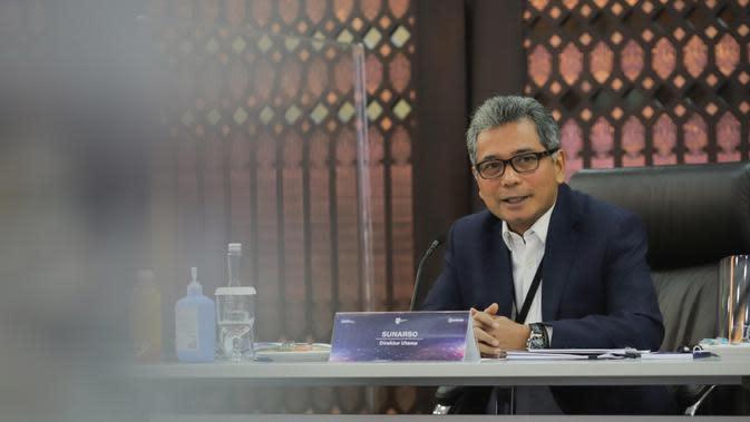 Direktur Utama BRI, Sunarso saat Konferensi Pers Virtual Pemaparan Kinerja Keuangan Triwulan II Tahun 2020 via Zoom, 19 Agustus 2020.