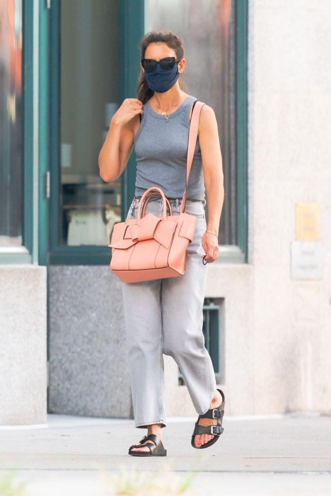 Katie Holmes wearing Birkenstocks. (Image via Getty Images)
