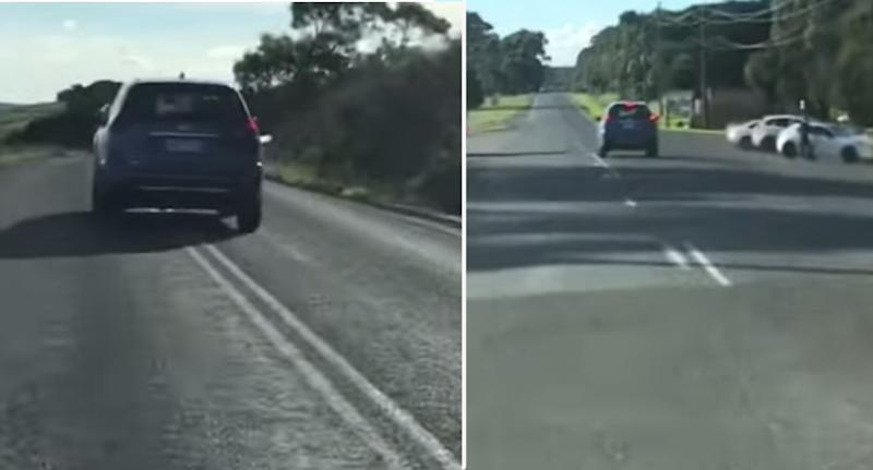 The footage was posted online as a Victorian motorist warned others to stay safe on the road. Source: Facebook