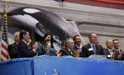 SeaWorld Entertainment CEO Jim Atchison, third from right, with glasses, joined by SeaWorld Entertainment's leadership team and team members, rings the opening bell of the New York Stock Exchange, during the company's IPO, Friday, April 19, 2013, in New York. The broad Standard & Poor's 500 index opened higher early Friday. (AP Photo/Richard Drew)