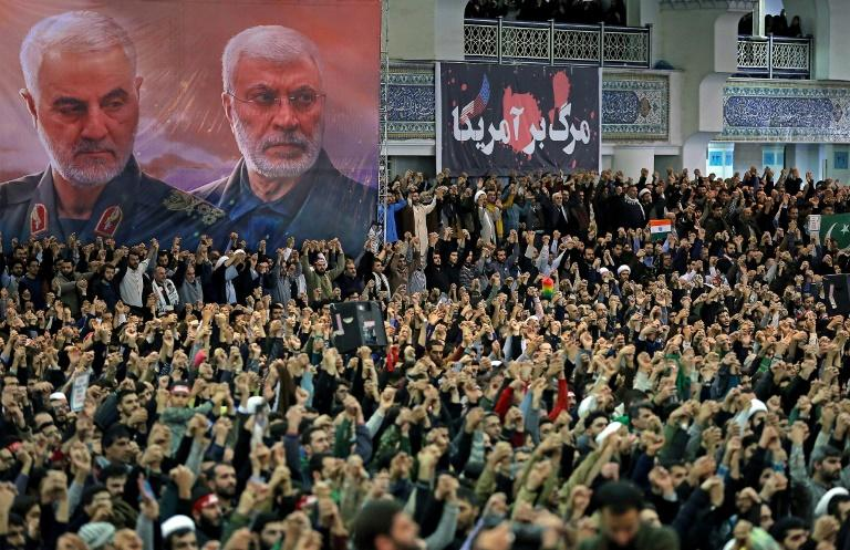 Khamenei paid tribute to Soleimani's service in his address to the congregation gathered in front of a huge poster of the slain commander