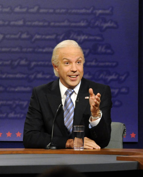 """This Oct. 13, 2012 photo released by NBC shows Jason Sudeikis portraying Vice President Joe Biden in a skit from """"Saturday Night Live,"""" in New York. After eight years on the air at """"Saturday Night Live,"""" Sudeikis says he's calling it quits. Sudeikis used another late-night institution to make his announcement, telling David Letterman in the taping of the show on Wednesday, July 24, that he's leaving NBC's weekend program. Sudeikis had a busy election year on """"Saturday Night Live,"""" portraying both Republican Mitt Romney and Vice President Joe Biden. (AP Photo/NBC, Dana Edelson)"""