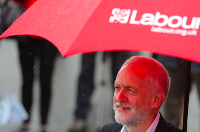 Jeremy Corbyn on the campaign trail in Middlesbrough today (Picture: PA)