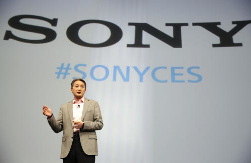 Kazuo Hirai, president and CEO of Sony, speaks during a news conference at the International CES on Monday, Jan. 5, 2015, in Las Vegas. (AP Photo/Jae C. Hong)