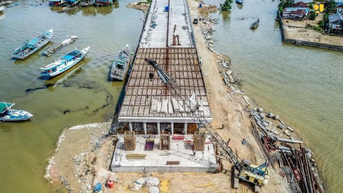 Pembangunan Jembatan Teluk Kendari sepanjang 1,34 km. Dok PUPR
