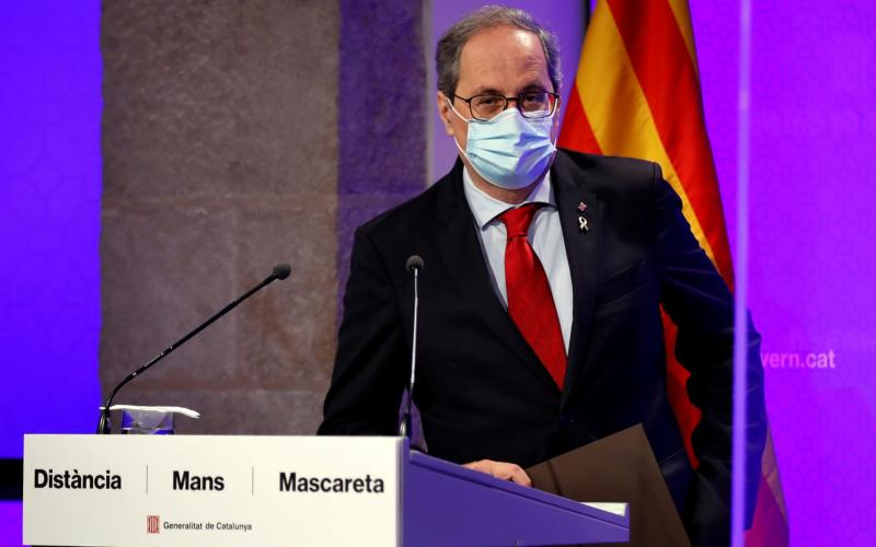 Catalan regional President Quim Torra wears a mask as he addresses a press conference in Barcelona, Spain, 13 July 2020 - Toni Albir/EPA-EFE/Shutterstock