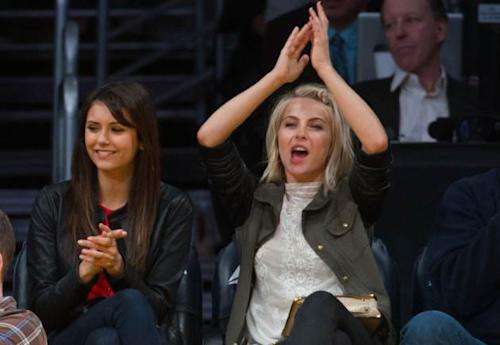 Julianne Hough and Nina Dobrev attend a basketball game between the Sacramento Kings and the Los Angeles Lakers at Staples Center on March 17, 2013 in Los Angeles -- Getty Premium
