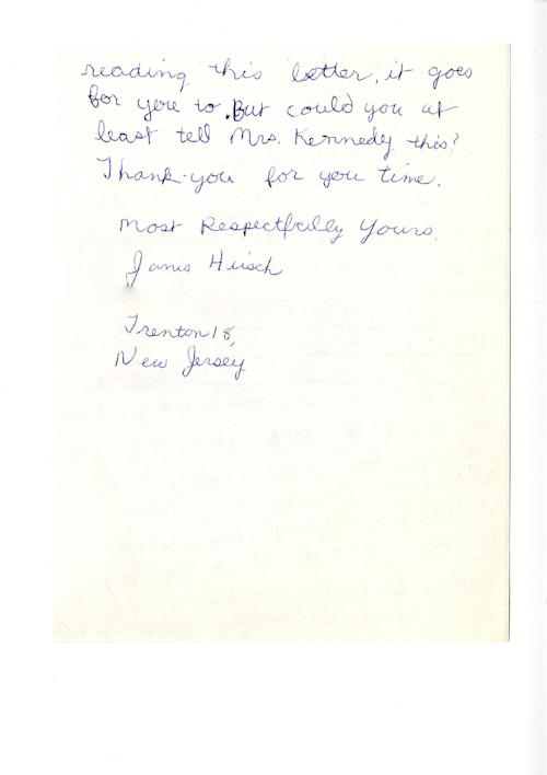 "This photo provided by TLC shows the second page of Janis Hirsch's letter to Mrs. Kennedy from the JFK Library. Hirsch's note, among some 800,000 sent to Mrs. Kennedy in the two months after President John F. Kennedy's Nov. 22, 1963, killing in Dallas, is featured along with about 20 others in ""Letters to Jackie: Remembering President Kennedy,"" airing 9 p.m. EST Sunday, Nov. 17, 2013, on TLC. (AP Photo/Courtesy TLC)"