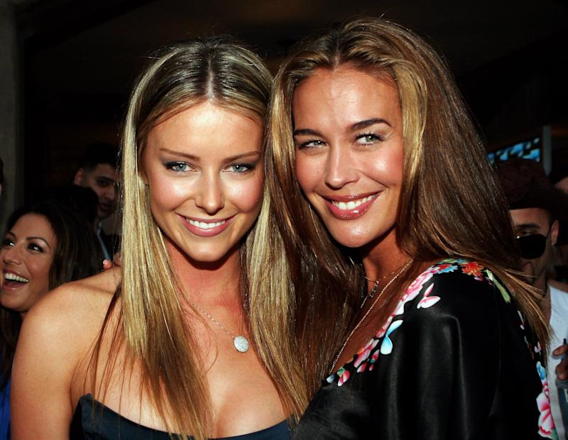 Models Jennifer Hawkins and Megan Gale at Cleo Magazine's annual Swimsuit Party