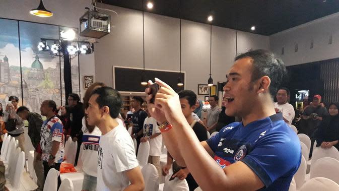 Suasana Meet and Greet dengan para pemain Arema FC yang diadakan Shopee di Malang, Rabu (6/11/2019) (Liputan6.com/Luthfie Febrianto)