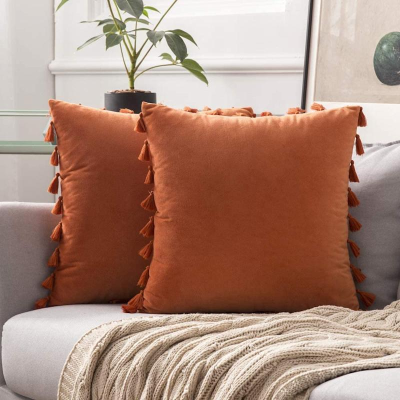 Pack of 2 Velvet Soft Solid Decorative Throw Pillow Cover. Image via Amazon.