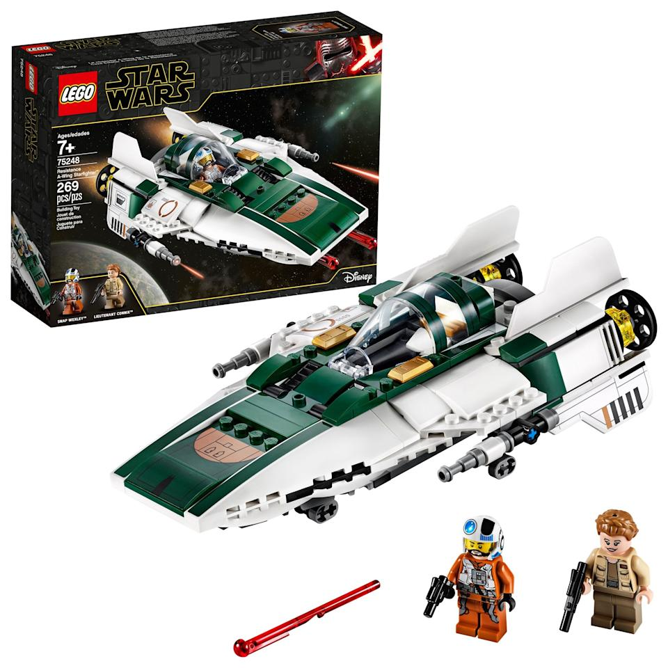 """<p>The <a href=""""https://www.popsugar.com/buy/Lego-Star-Wars-Rise-Skywalker-Resistance--Wing-Starfighter-498234?p_name=Lego%20Star%20Wars%3A%20The%20Rise%20of%20Skywalker%20Resistance%20A-Wing%20Starfighter&retailer=walmart.com&pid=498234&price=30&evar1=moms%3Aus&evar9=45805064&evar98=https%3A%2F%2Fwww.popsugar.com%2Ffamily%2Fphoto-gallery%2F45805064%2Fimage%2F46720177%2FLego-Star-Wars-Rise-Skywalker-Resistance--Wing-Starfighter&list1=toys%2Clego%2Ctoy%20fair%2Ckids%20toys%2Cbest%20of%202019&prop13=api&pdata=1"""" rel=""""nofollow"""" data-shoppable-link=""""1"""" target=""""_blank"""" class=""""ga-track"""" data-ga-category=""""Related"""" data-ga-label=""""https://www.walmart.com/ip/LEGO-Star-Wars-The-Rise-of-Skywalker-Resistance-A-Wing-Starfighter-75248-Building-Kit/220154613"""" data-ga-action=""""In-Line Links"""">Lego Star Wars: The Rise of Skywalker Resistance A-Wing Starfighter</a> ($30) has 269 pieces and is aimed at kids ages 7 and up.</p>"""