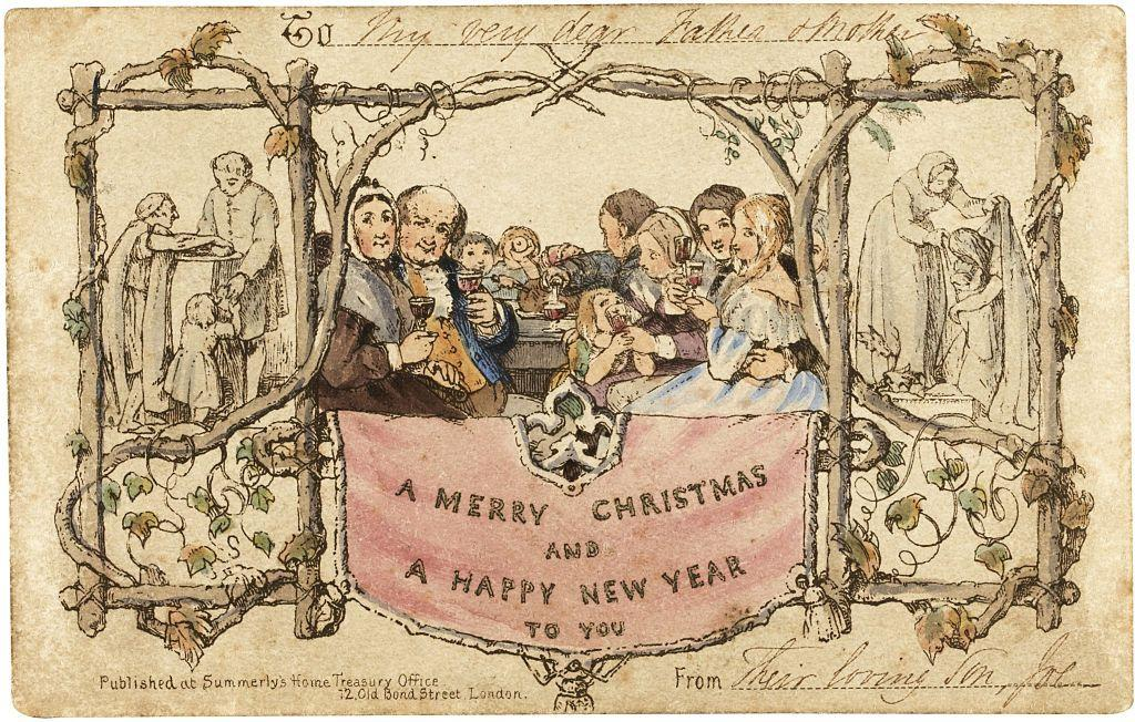 """<p>The year was 1843, and <a href=""""https://www.smithsonianmag.com/history/history-christmas-card-180957487/"""" target=""""_blank"""">Sir Henry Cole</a>, a popular Londoner, was receiving more holiday notes than he could respond to individually due to the advent of the penny stamp, which made letters inexpensive to send. So, Cole asked artist J.C. Horsley to create a festive design he could have printed and mail en masse and—voila!—the first <a href=""""https://www.countryliving.com/diy-crafts/how-to/g3872/christmas-card-ideas/"""" target=""""_blank"""">Christmas card</a> was created. German immigrant and <a href=""""https://www.greetingcard.org/industry-resources/history/"""" target=""""_blank"""">lithographer Louis Prang</a> is credited with beginning the commercial Christmas card business in America in 1856, while one of the earliest folded cards paired with an envelope was <a href=""""https://corporate.hallmark.com/about/hallmark-cards-company/history/founding-1910s/"""" target=""""_blank"""">sold in 1915</a> by the Hall Brothers (now Hallmark). Today, around <a href=""""https://www.chicagotribune.com/business/ct-biz-holiday-greeting-cards-1223-story.html"""" target=""""_blank"""">1.6 billion holiday cards</a> are sold in the U.S. each year, according to the Greeting Card Association. </p>"""