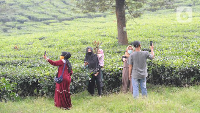 Warga berkeliling kebun teh di pinggir jalan raya yang menghubungkan Bogor-Cianjur di kawasan Gunung Mas, Puncak, Jawa Barat, Minggu (17/5/2020). Kegiatan ngabuburit atau menunggu waktu berbuka puasa ini melanggar aturan PSBB karena mengundang kerumunan massa. (merdeka.com/Arie Basuki)