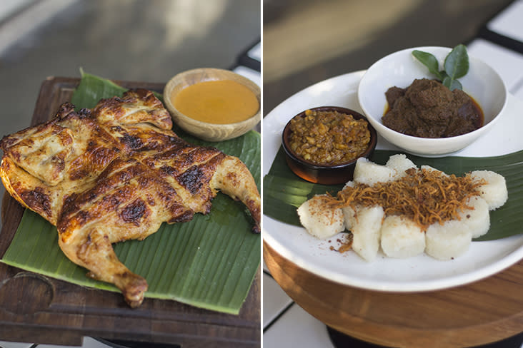 The star of the show is their juicy 'Ayam Peri-Peri Percik' cooked in a Josper oven (left). Tis the season for 'lemang', so enjoy it with beef 'rendang', peanut sauce and 'serunding' (right)