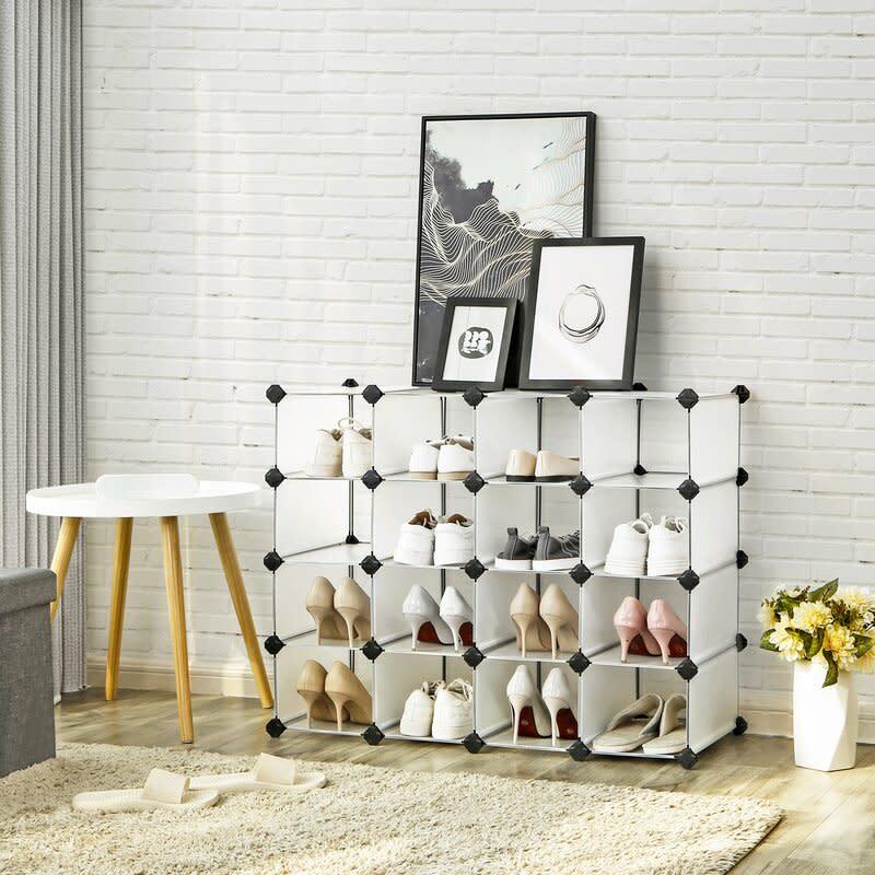16 Pair Stackable Shoe Rack. Image via Wayfair.