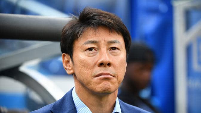 Shin Tae-yong melatih Korea Selatan di Piala Dunia 2018. (AFP/Johannes Eisele)