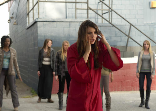 "This publicity photo released by The CW Network shows, front, Nina Dobrev as Elena, in a scene from ""The Vampire Diaries,"" Season 4. (AP Photo/The CW Network, Curtis Baker)"