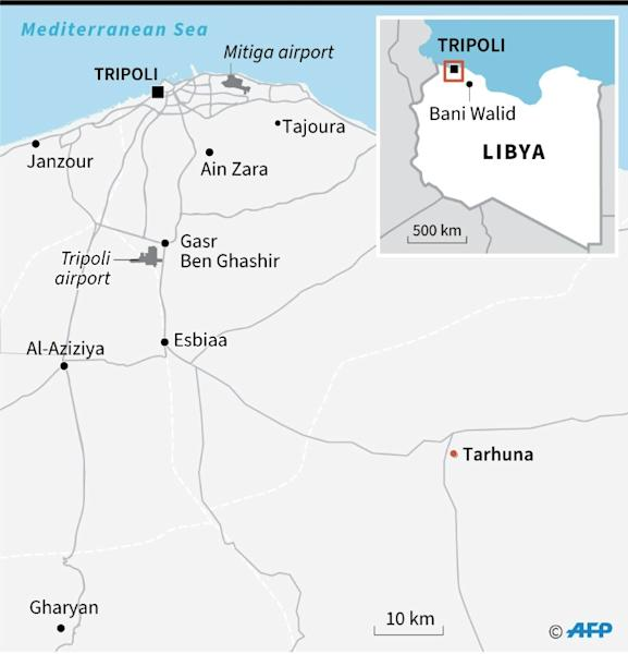 Map showing the Libyan capital Tripoli and surroundings, including Tarhuna