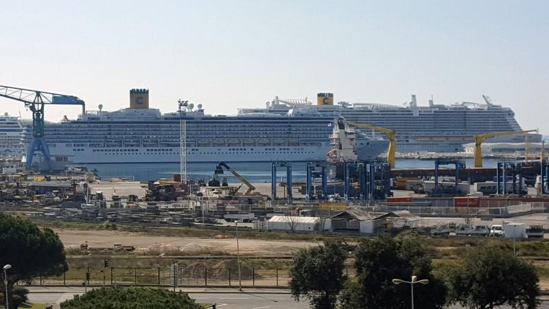 A views shows the Costa Luminosa Italian cruise ship docked at Marseille port