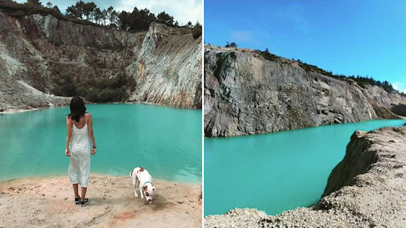 The picturesque 'lake' is actually very toxic and Instagrammers are breaking out in rashes and vomiting. Source: Instagram