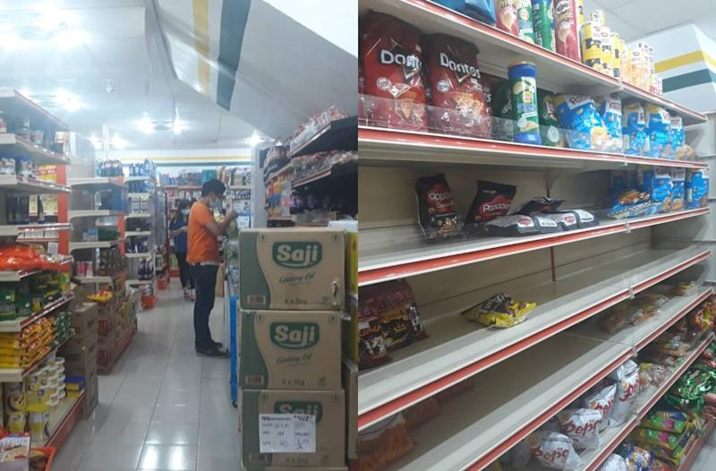A supermarket employee at work (left) and some empty shelves at the snacks aisle at 99 Speedmart. Photos: Coconuts