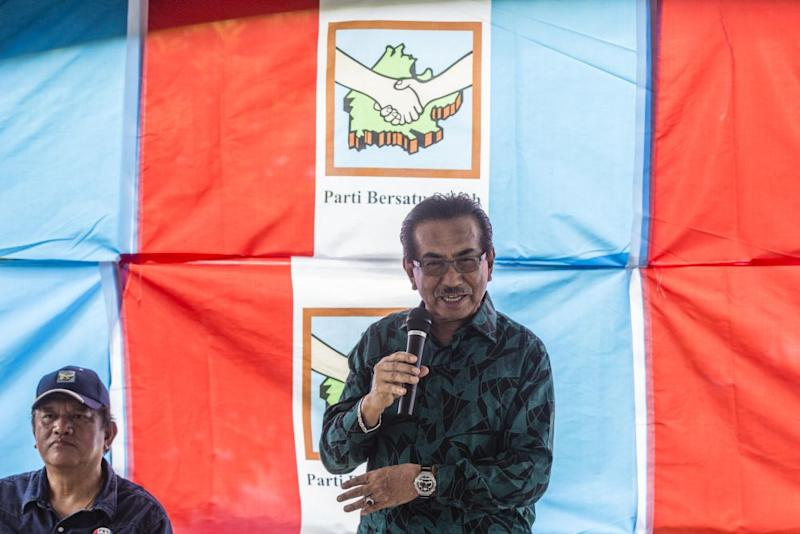 Former Sabah chief minister Tan Sri Musa Aman speaks while campaigning in Kiulu September 18, 2020. — Picture by Firdaus Latif