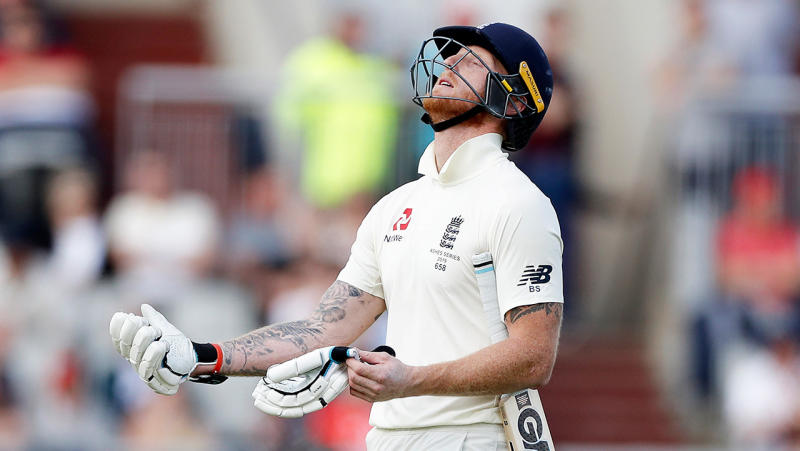 Ben Stokes walks after he was out to a Pat Cummins delivery
